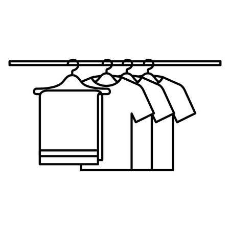 towel and shirts hanging in wire hook vector illustration design
