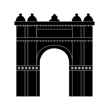 castle building icon image vector illustration design  black and white Ilustração