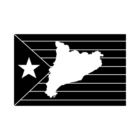 catalunya flag and country outline icon image vector illustration design  black and white