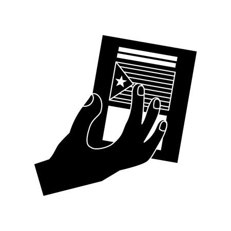 Bandeira de catalunya independência ícone de voto imagem ilustração vetorial design preto e branco Foto de archivo - 90401344