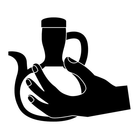 olive oil bottle hand holding icon image vector illustration design  black and white
