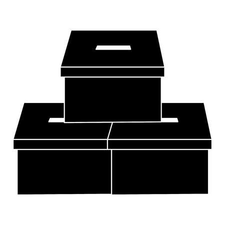투표 상자 투표 아이콘 이미지 벡터 일러스트 레이 션 디자인 흑백