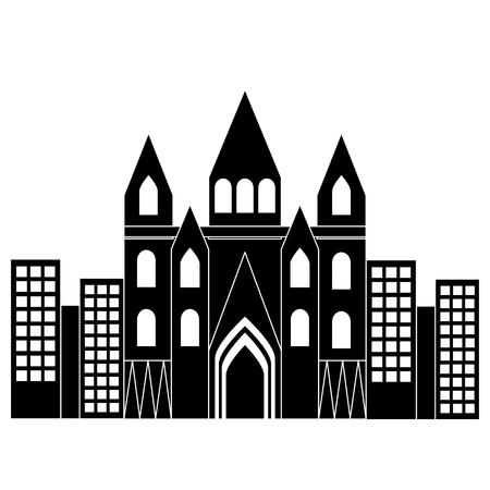 kerk kathedraal in stad pictogram afbeelding vector illustratie ontwerp zwart en wit