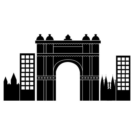 castle building in city icon image vector illustration design  black and white