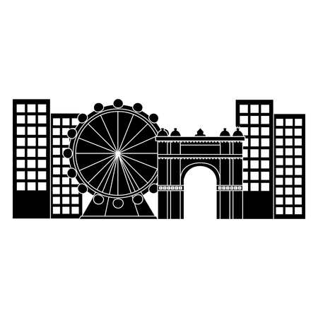 ferris wheel in city icon image vector illustration design  black and white
