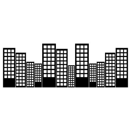 都市のスカイライン建物アイコン画像ベクトルイラストデザイン黒と白