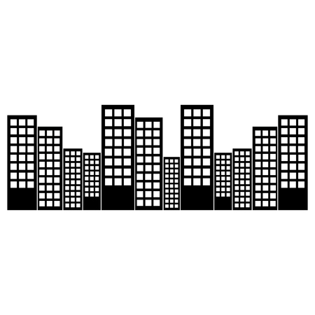 city skyline buildings icon image vector illustration design  black and white Ilustrace