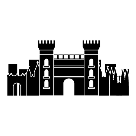 castle building in city icon image vector illustration design  black and white