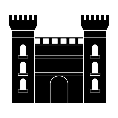 castle building icon image vector illustration design  black and white Illustration