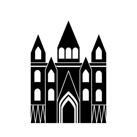 kerk kathedraal pictogram afbeelding vector illustratie ontwerp zwart en wit