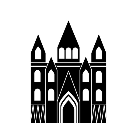 church cathedral icon image vector illustration design  black and white