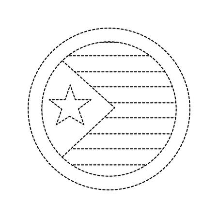 星条旗付きフラグ アイコン 画像 ベクトル イラストデザイン 黒点線