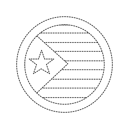 flag with star and stripes icon image vector illustration design  black dotted line Illustration