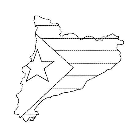 Bandeira de catalunya e ilustração do país imagem do ícone ilustração vetorial design linha pontilhada preta Foto de archivo - 90401379