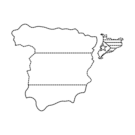 catalunya flag and country outline separated from spain icon image vector illustration design  black dotted line