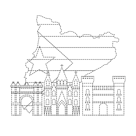 Bandera de Cataluña y contorno del país con icono de puntos de referencia diseño de ilustración vectorial vector línea punteada negro Foto de archivo - 90401388