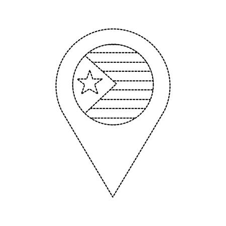星と縞模様のフラグ GPS ピン アイコン 画像 ベクトル イラストデザイン 黒点線  イラスト・ベクター素材