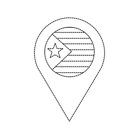 flag with star and stripes gps pin icon image vector illustration design  black dotted line