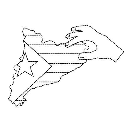 Catalunya bandeira e contorno do país com a mão ícone imagem vetorial ilustração design linha preta do pontilhado Foto de archivo - 90401392