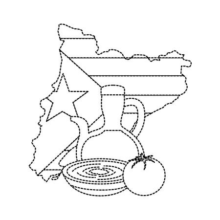 Bandera de Cataluña y contorno del país con aceite de oliva sopa de tomate icono de imagen ilustración vectorial diseño línea punteada negro Foto de archivo - 90401397