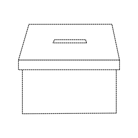 voting box vote icon image vector illustration design  black dotted line