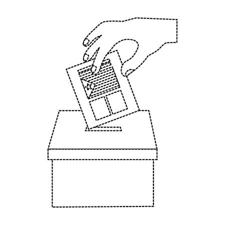 Cataluña, bandera, independencia, voto, icono, imagen, vector, ilustración, diseño, negro, punteado, línea Foto de archivo - 90401402