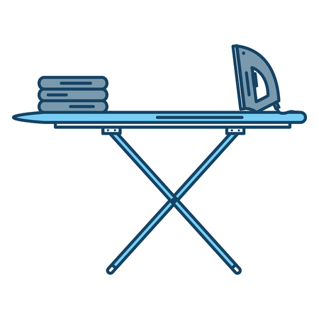 ironing board with clothes and iron vector illustration design