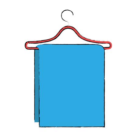 towel hanging in wire hook vector illustration design