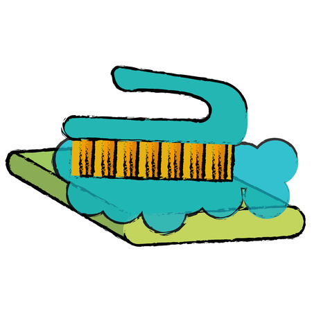 handle brush cleaning isolated icon vector illustration design