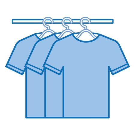 t-shirts die in ontwerp van de haak het vectorillustratie hangen