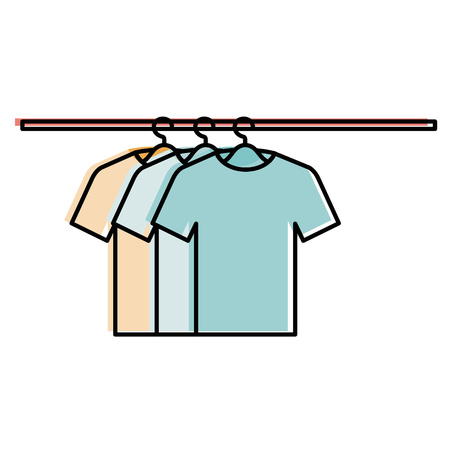 tshirts hanging in hook vector illustration design