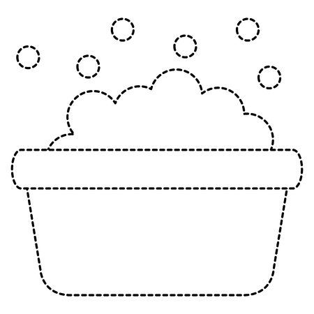 laundry pot with foam vector illustration design
