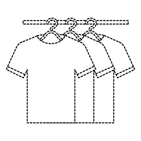 Camisetas que cuelgan en diseño del ejemplo del vector del gancho Foto de archivo - 90402996