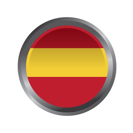スペインフラグボタンアイコン画像ベクトルイラストデザイン