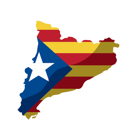 catalunya flag and country outline icon image vector illustration design  イラスト・ベクター素材