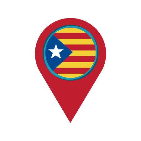 catalunya flag gps pin icon image vector illustration design