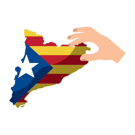 catalunya flag and country outline with hand icon image vector illustration design  イラスト・ベクター素材
