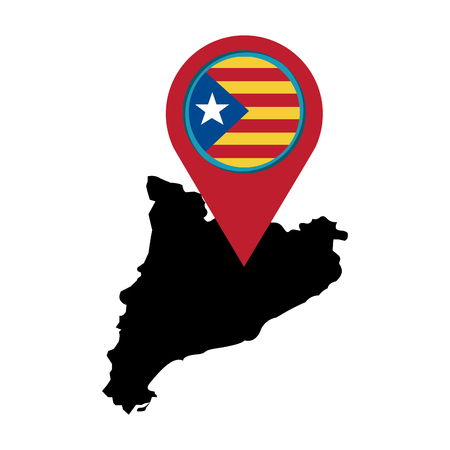 catalunya flag and country outline with gps pin  icon image vector illustration design
