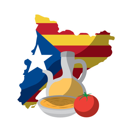 Escudo de catalunya y el esquema del país con el diseño de ilustración de vector de imagen de icono de sopa de tomate de aceite de oliva Foto de archivo - 90402041