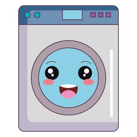 wasmachine machine kawaii karakter vector illustratie ontwerp