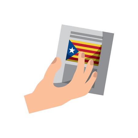 Cataluña, bandera, independencia, voto, icono, imagen, vector, ilustración, diseño Foto de archivo - 90402044
