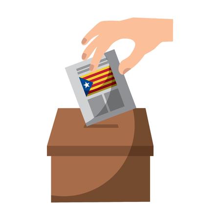 Cataluña, bandera, independencia, voto, icono, imagen, vector, ilustración, diseño Foto de archivo - 90402046