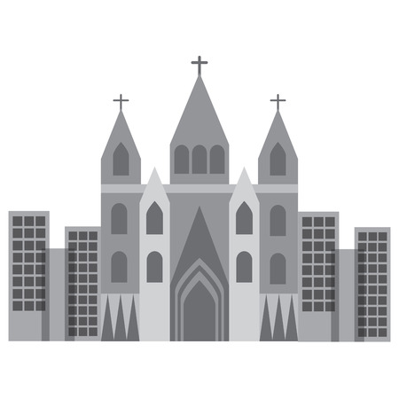 Cattedrale della chiesa nella progettazione dell'illustrazione di vettore di immagine dell'icona della città Archivio Fotografico - 90402084