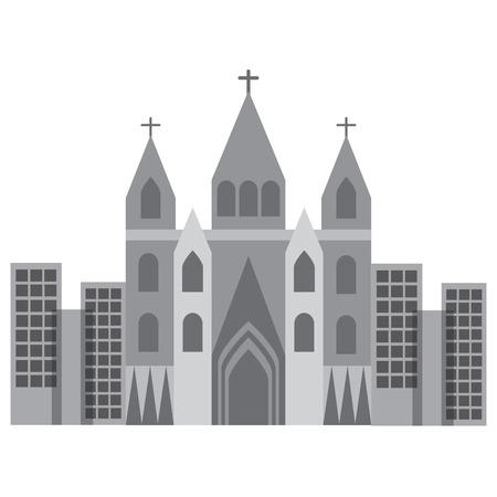kerk kathedraal in stads pictogram afbeelding vector illustratie ontwerp