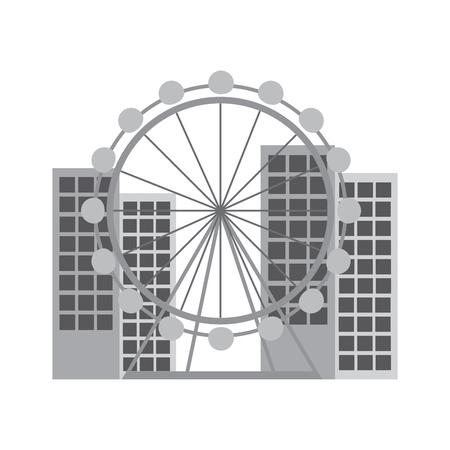 ferris wheel in city icon image vector illustration design Stock Illustratie