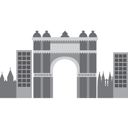 castle building in city icon image vector illustration design Ilustração