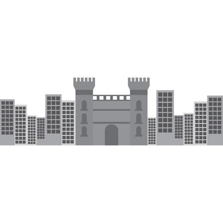 castle building in city icon image vector illustration design Иллюстрация