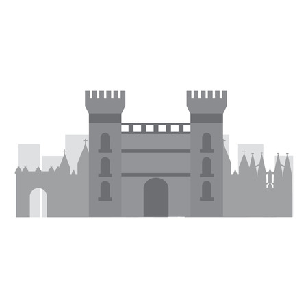 castle building in city icon image vector illustration design Illustration