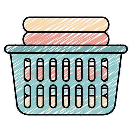 laundry basket with pile of folded clothes vector illustration design