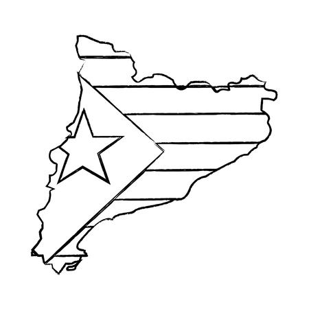 Bandera de Cataluña y diseño del ejemplo del vector de la imagen del icono del esquema del país Foto de archivo - 90402095